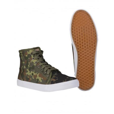 Basket type sneaker toile camouflage flecktarn