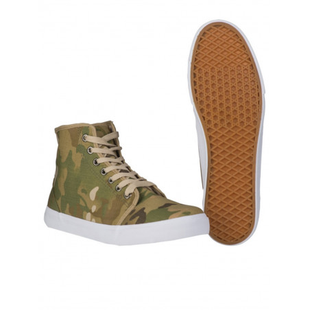 Basket type sneaker toile camouflage multicam