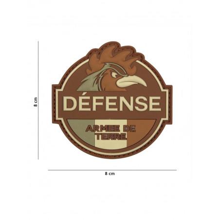 Ecusson Defense Armee De Terre PVC - Marron