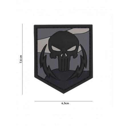 Ecusson Punisher Thunder Strokes PVC - Gris